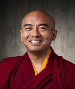 Portrait of Mingyur Rinpoche, Tibetan Buddhist teacher and guest on the Wisdom Podcast