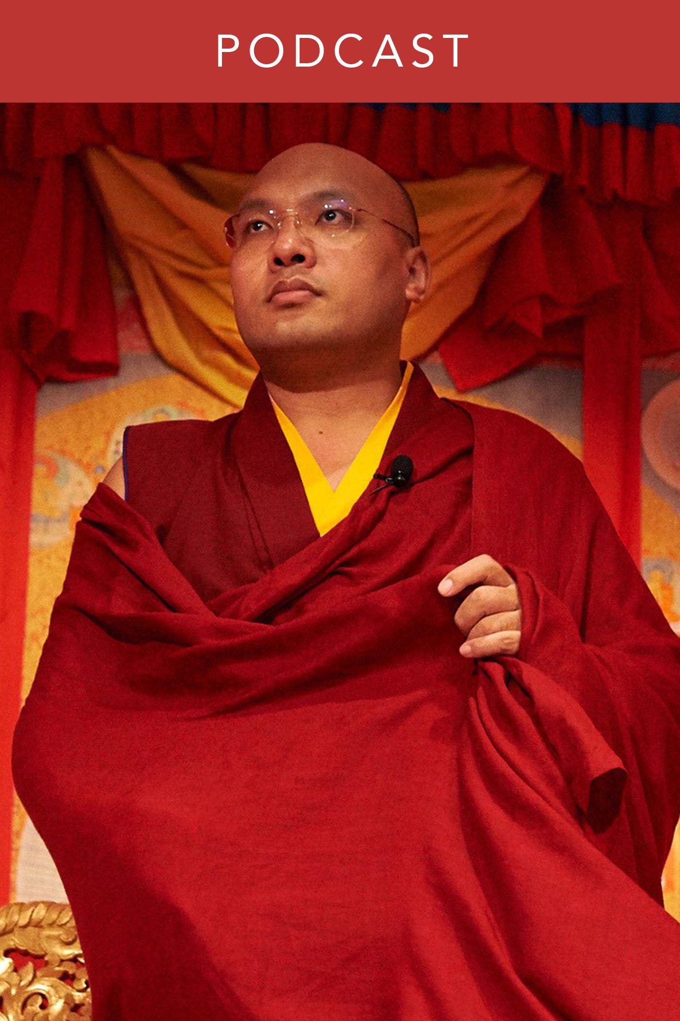Portrait of His Holiness the Karmapa during a talk he gave. Wisdom Podcast, Buddhist Podcast, Buddhism