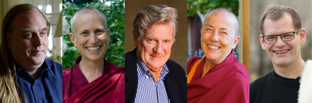head shots of Dharma Chats guests Malcolm Smith, Thubten Chodron, Robert Thurman, Robina Courtin, and John Dunne