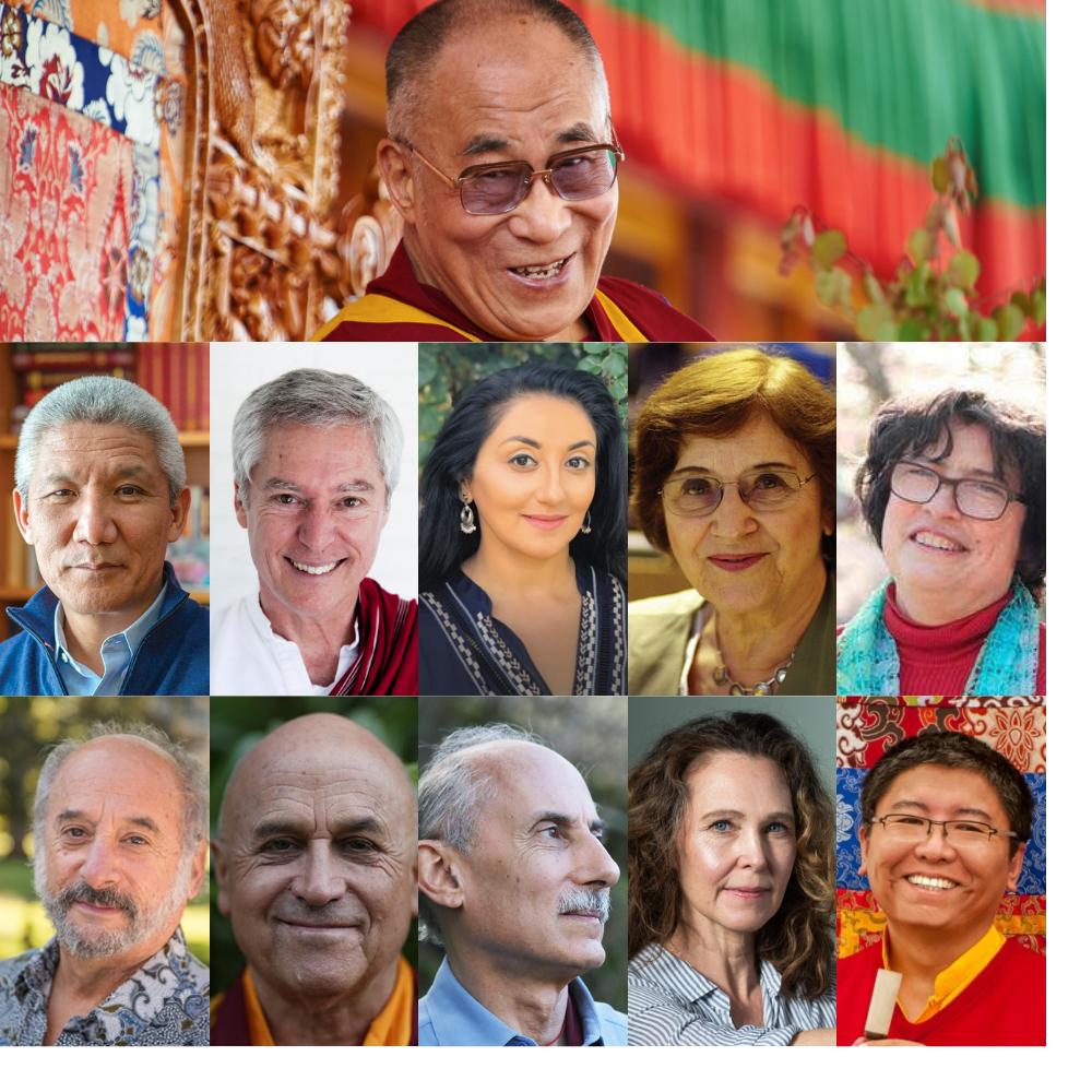 Photo of speakers in course including Dalai Lama, Thupten Jinpa, Alan Wallace, Amishi Jha, Anne Treisman, Catherine Kerr, Jay Garfield, Matthieu Ricard, Jack Kornfield, Willa Baker, Tsoknyi Rinpoche