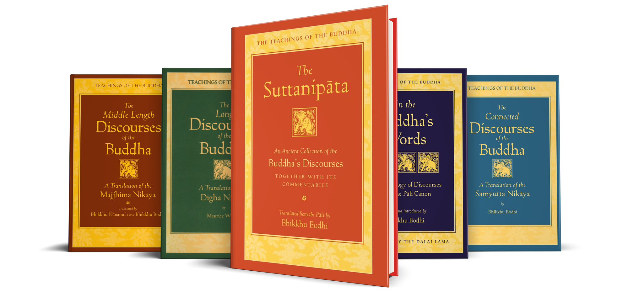 Image of books in the Teachings of the Buddha series, the renowned Pali Canon translation by Bhikkhu Bodhi, sharing the words of the Buddha