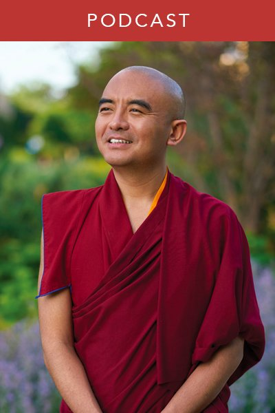 Wisdom Podcast photo of Mingyur Rinpoche posing in field with flowers, Tibetan Buddhist meditation master on fear, anxiety, practice during pandemic